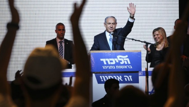 Netanyahu at victory rally in Tel Aviv in the week hours of Wednesday morning (photo credit: Times of Israel)